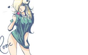 blue eyes, anime girls, blonde, green clothing, green, Rosalina