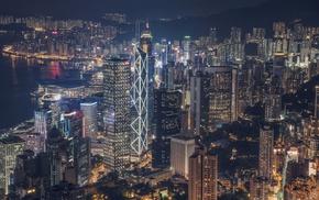 city, cityscape, lights, skyscraper, night, Hong Kong