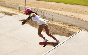 sports, girl, skateboard, jean shorts, sneakers