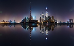 skyscraper, water, Shanghai, China, lights, sea