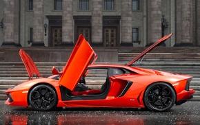 orange, car, rain, Lamborghini, Lamborghini Aventador