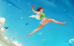 clouds, original characters, sky