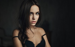 black bras, Georgiy Chernyadyev, brunette, hazel eyes, face, bare shoulders