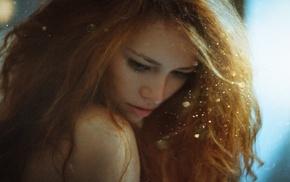 girl, portrait, redhead, model, sun rays, bare shoulders
