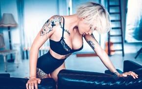 blonde, girl, tattoo, short hair, lingerie, Marcel Sander
