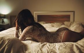 brunette, lingerie, in bed, girl, leotard, see