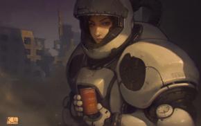 girl, digital art, ruins, drawing, Cyrillic, science fiction