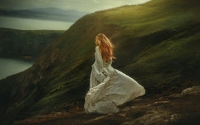 hill, emotions, coast, redhead, cliff, model