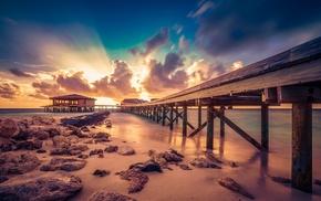 rock, sand, coast, long exposure, Maldives, nature