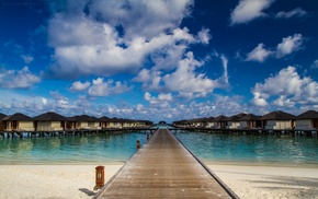 sea, nature, landscape, tropical, Maldives, path