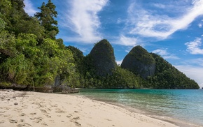 summer, sea, Raja Ampat, sand, beach, landscape