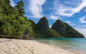 summer, sea, Raja Ampat, sand, beach, landscape