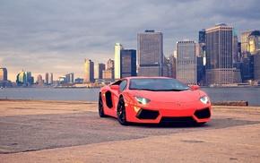Lamborghini, car, cityscape, Lamborghini Aventador, city
