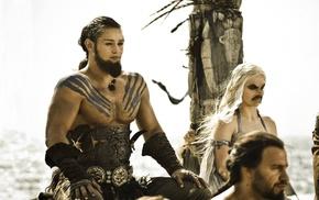 photoshopped, shirtless, Daenerys Targaryen, Game of Thrones, Khal Drogo