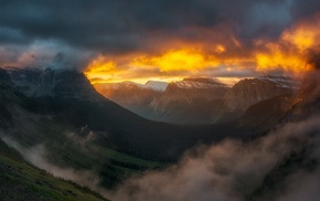 nature, clouds, mountain pass, Glacier National Park, landscape, mist