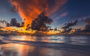 nature, beach, Maldives, clouds, coast, waves