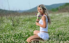 girl, flowers, blonde