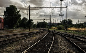 Ukraine, rail yard, old, rust, clouds, ground