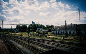rail yard, sky, train, train station, HDR, Pripyat
