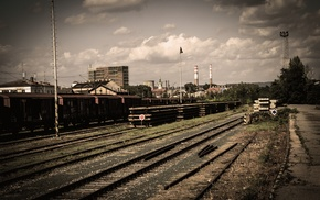 train, abandoned, railway, clouds, train station, old