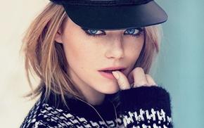 blue eyes, hat, Emma Stone