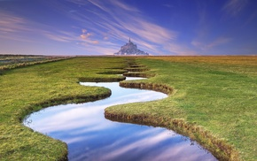 architecture, castle, stream, river, horizon, landscape