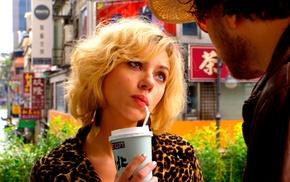 Lucy, short hair, drink, blonde, Scarlett Johansson