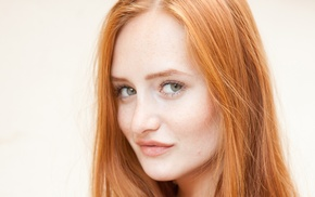 redhead, Denisa Heaven, green eyes, freckles