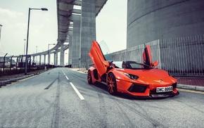 Lamborghini Aventador, car, Lamborghini, bridge, road