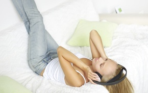 tank top, lying down, headphones, girl, legs up, jeans