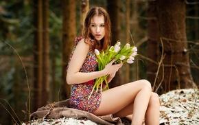 forest, redhead, minidress, dress, flowers, girl