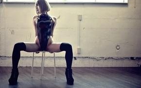 black swimsuit, girl indoors, photography, Japanese girl, blonde