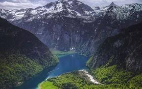 spring, snowy peak, landscape, fjord, forest, Germany