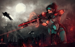 futuristic, digital art, rifles, girl, city, concept art
