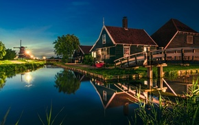 grass, canal, Europe, evening, trees, reflection