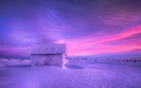nature, frost, fence, snow, Norway, hut