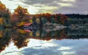 reflection, water, nature, trees, fall, lake