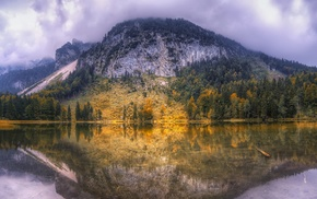 reflection, fall, mountain, trees, forest, calm