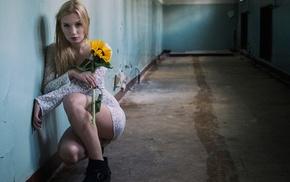 girl, kneeling, model, flowers, on the floor