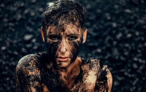 dirty, girl, mud, short hair, model