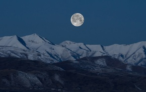 moonlight, landscape, moon, multiple display, mountain, night