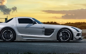 Mercedes, Benz SLS AMG, multiple display, car, sunset