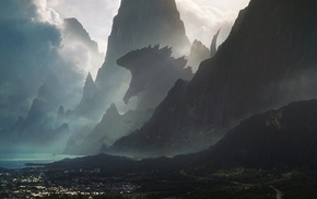 Godzilla, sea, artwork, mountain
