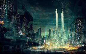 futuristic, concept art, artwork, city, cityscape