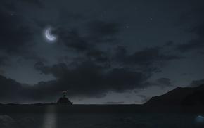 night, stars, moonlight, Final Fantasy XIV A Realm Reborn, moon, lighthouse