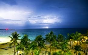 lightning, palm trees, clouds, sea