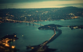 filter, tilt shift, city, bridge, cityscape, evening