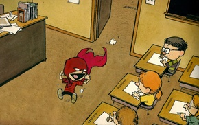 school, classroom, superhero, comics, Calvin and Hobbes