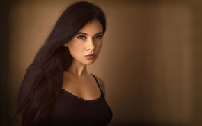 black clothing, girl, black hair, face, tattoo, portrait