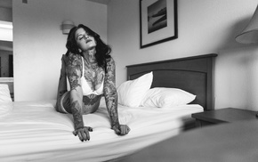 monochrome, tattoo, model, bed, girl